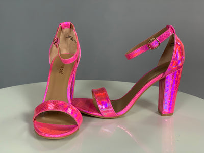 Shoe {Can't Stop The Fun} Neon Pink Snakeskin Heels