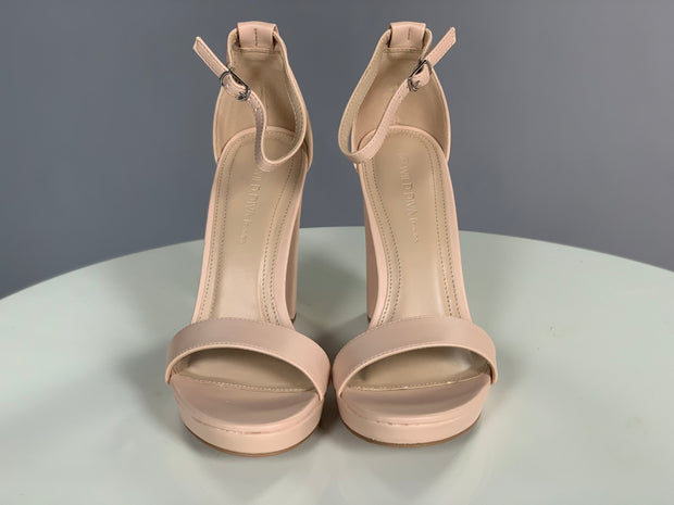 Shoe {On My Way} Nude Ankle Strap Heels