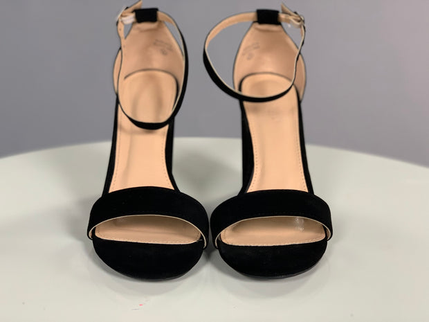 Shoes {Eyes Are Open} Soft Black Suede Ankle Strap Heels
