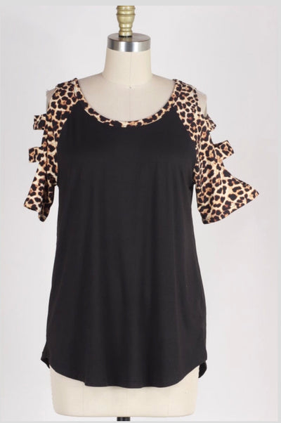 OS-O {Enjoy Yourself} Black Top with Leopard Print Detail