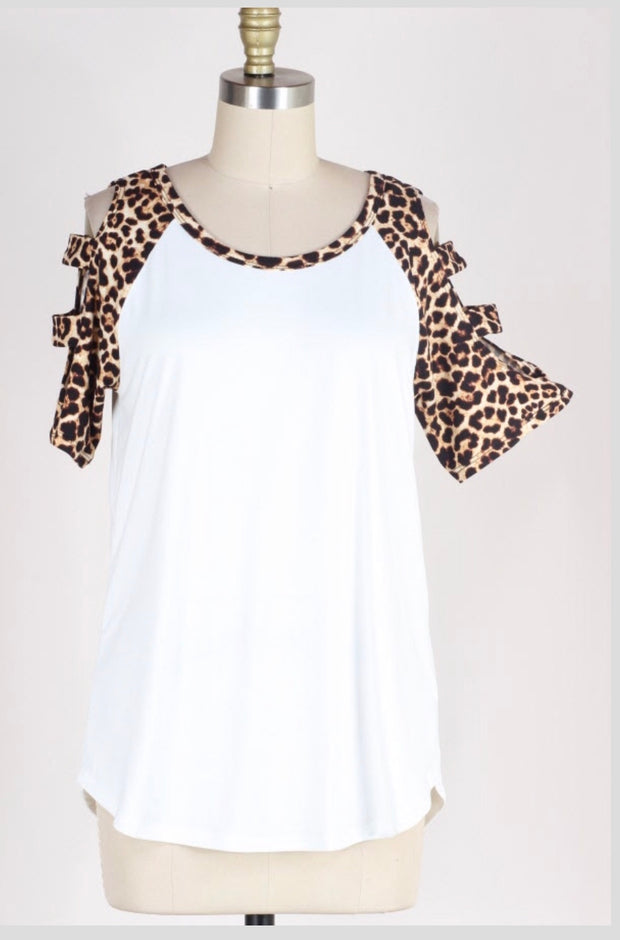 OS-M {Enjoy Yourself} White Top with Leopard Print Detail