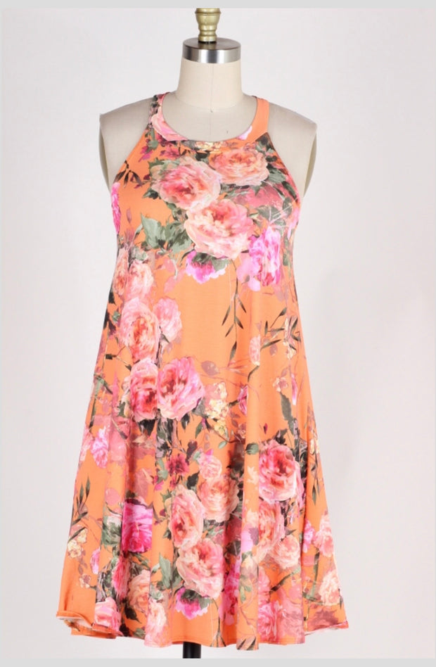 SV-T {Feeling Fresh} Coral Floral Sleeveless Dress w/Pockets