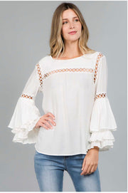 SLS-M {Keep Me Smiling} White Top with Layered Sleeves
