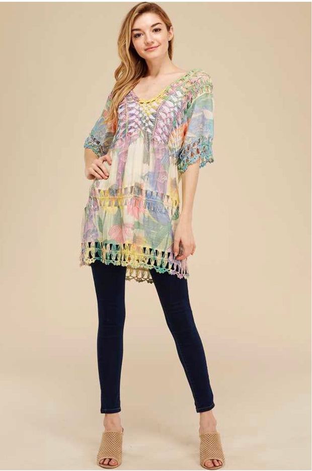 PSS-L {Color Me Wonderful} Multi Color Floral Knit Tunic