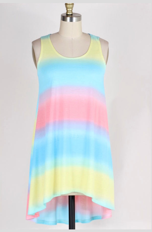 SV-C {Come So Far} Rainbow Tie-Dye Sleeveless Hi-Lo Top