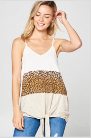 SV-M {Catty Behavior} Leopard Print Contrast Spaghetti Strap Top