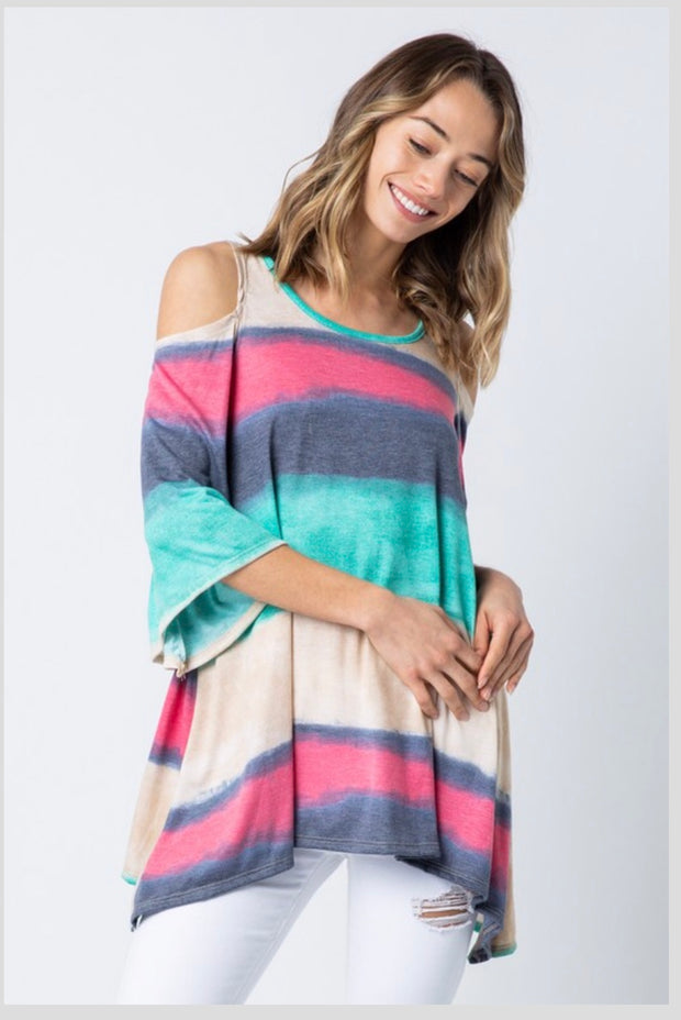 OS-K {Coastal Sunsets} Asymmetrical Cold-Shoulder Tie-Dye Top