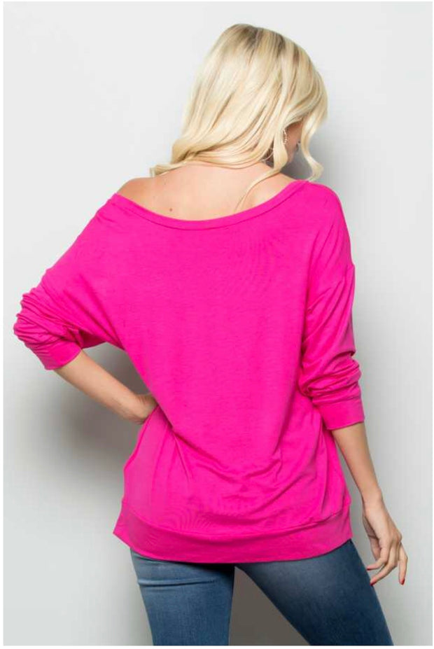 GT-B {Wild Love} Fuchsia Top W/ Cheetah Print Heart Detail