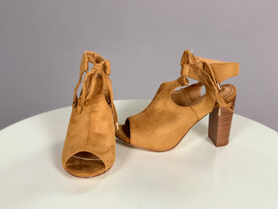 SHOES {Elegant Collection} CAMEL Peep-Toe Booties with Heel