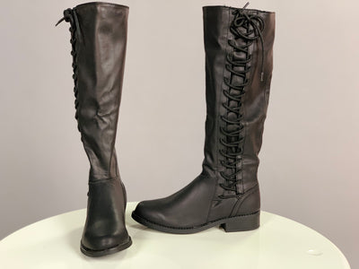 SHOES {BAMBOO} Black Knee-Boots with Lace-Up Side Detail