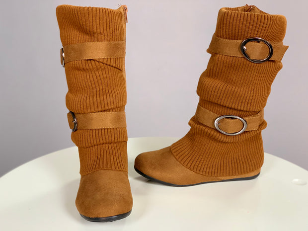 SHOES {Karyn's Collection} Suede Slouchy Mid-Calf Boots with Buckles--