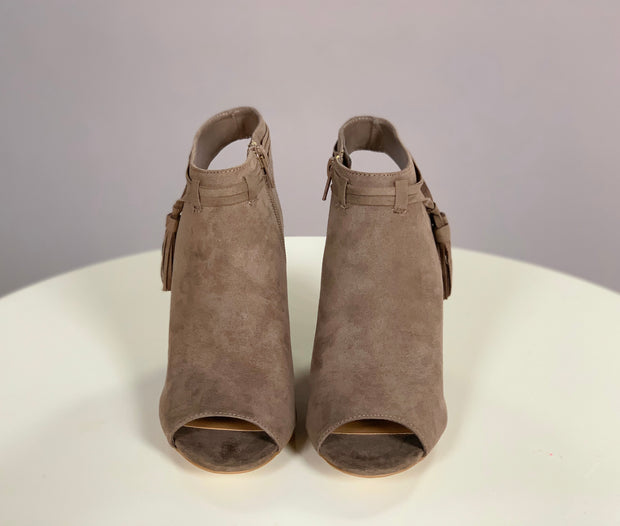 SHOES {BAMBOO}Taupe Peep-Toe Booties with Heel