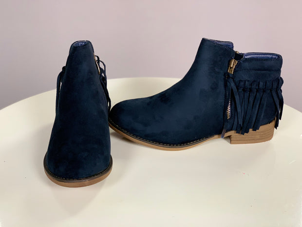 SHOES {Bella Marie} Navy Blue Booties With Fringe