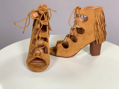 SHOES {Miim} Camel Suede Fringed Lace Up Heels Shoes