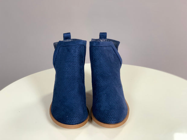 SHOES {Reneeze} Navy Suede Booties with Side Cut Detail and Heel