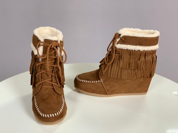 SHOES {City Classified} Chestnut Booties with Faux Fur & Fringe