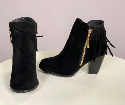 SHOES {Lovemark} Black Suede Booties with Gold Zipper Detail and Fringe