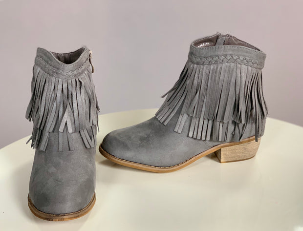 SHOES {Lovemark} Grey Suede Booties with Zipper Detail and Fringe