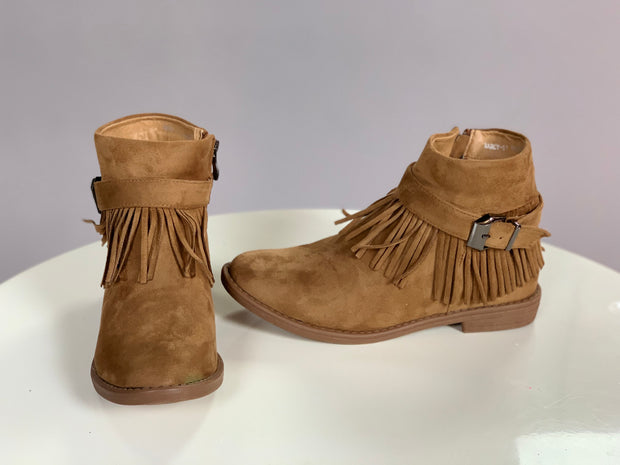 SHOES {Bella Marie} Tan Fringed Booties