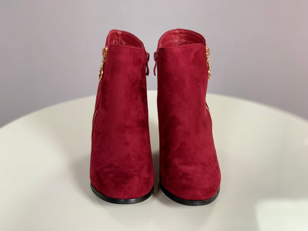 SHOES {Weeboo] Wine Suede Booties w/ Rhinestone Detail