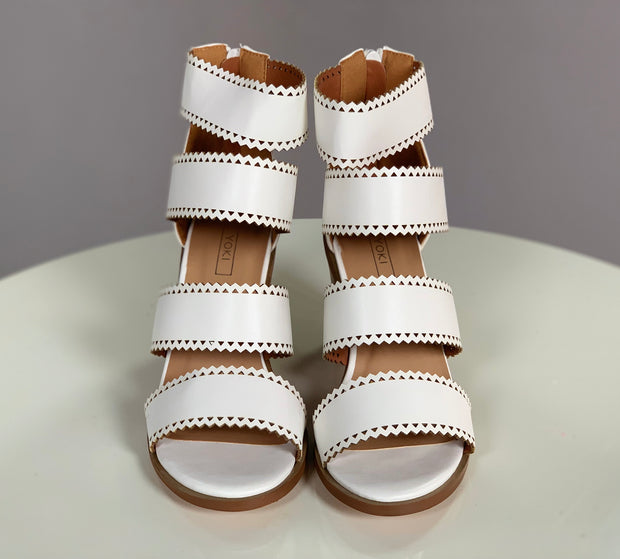 SHOES {YOKI} White Heels with Four Wide Leather Straps