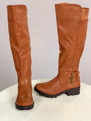 "SHOES {Nature Breeze} Cognac Boots With Double Buckle 1 inch"" Heel"
