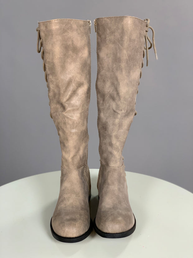 SHOES {BAMBOO} Taupe Knee-Boots with Lace-Up Side Detail