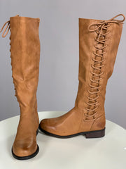 SHOES {BAMBOO} Tan Knee-Boots with Lace-Up Side Detail