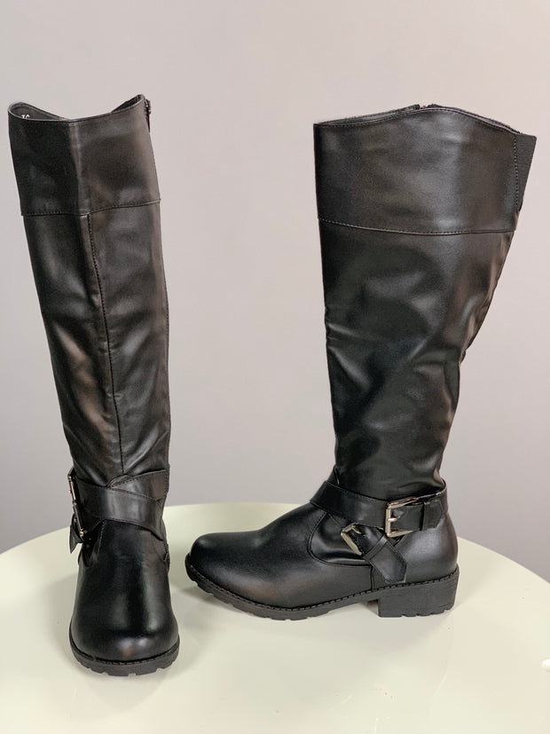 SHOES {H2K} Black Tall Boots With Buckle