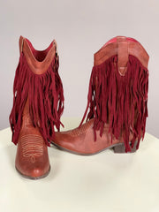 SHOES {Marilyn Moda} Wide Calf Boots Cognac with Burgundy Suede Fringe Shoes