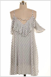 OS-J {The Show Goes On} White/Black Polka Dot Dress