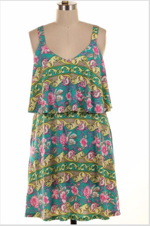 SV-M {My Love Song} Sleeveless Teal Floral Dress Yoke Detail