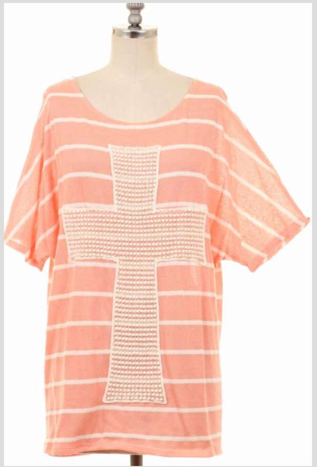 GT-T {God Only Knows} Peach Top with Crochet Lace Cross
