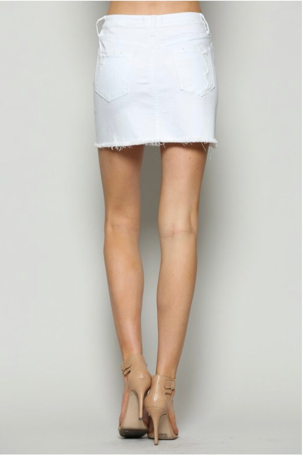 BT-D {Worth My Time} White Stretchy Denim Mini-Skirt
