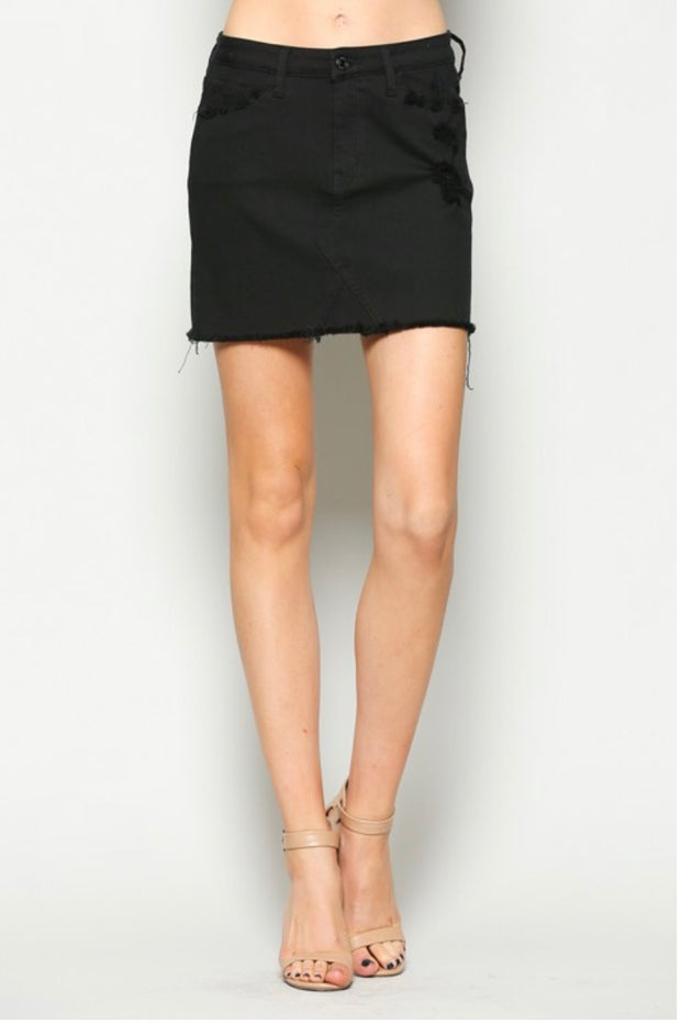 BT-D {Let's Party} Black Denim Mini-Skirt W/ Raw Hem