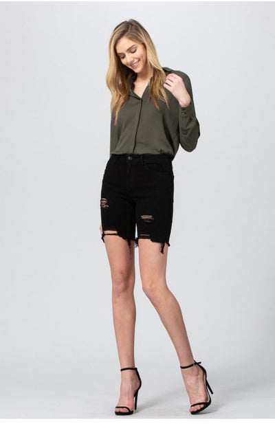 BT-S {Free As Can Be} Black Denim Distressed Fringed Shorts