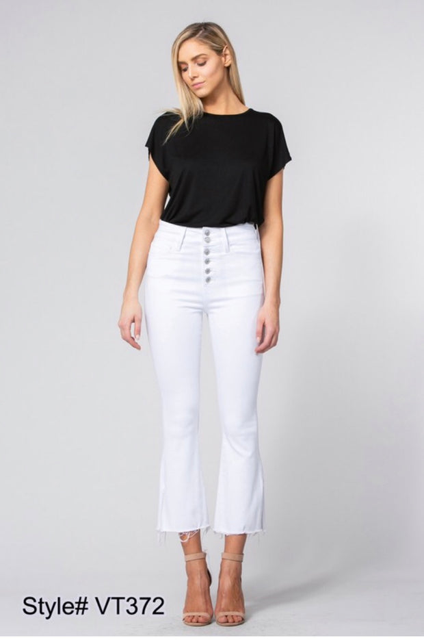BT-R {Groove With Me} White Button-Front Frayed Hem Jeans