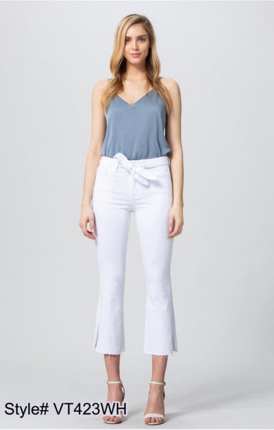 BT-H {Social Scene} White Cropped Jeans with Tie Belt Detail