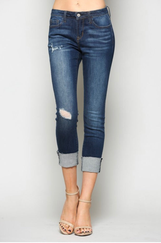 BT-H {More Than Expected} Distressed Dark Denim Jeans