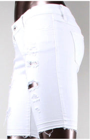BT-J {Just Kiss Me} White Distressed Denim Stretchy Shorts SALE!!
