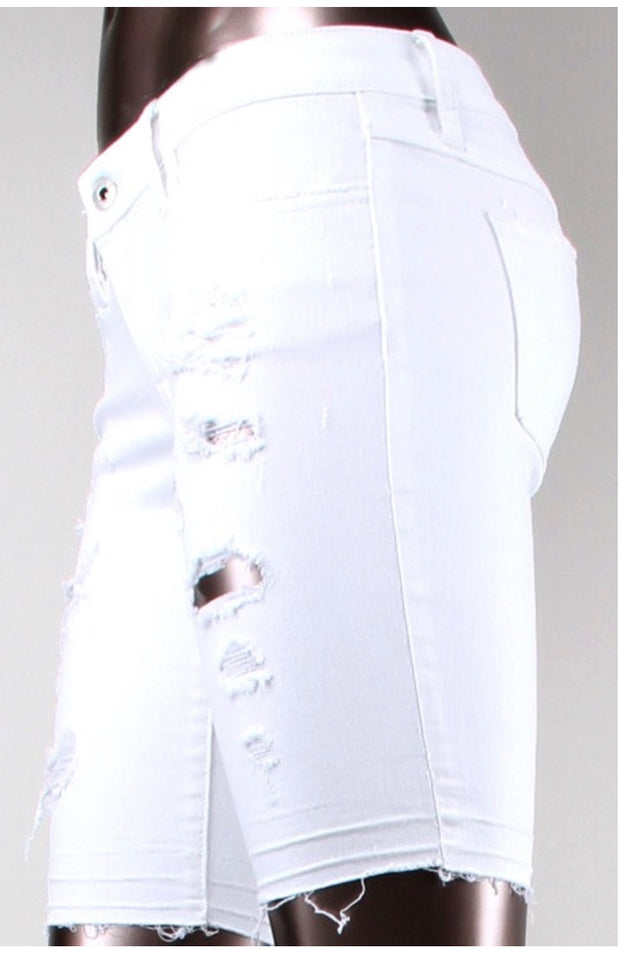 BT-J {Just Kiss Me} White Distressed Denim Stretchy Shorts