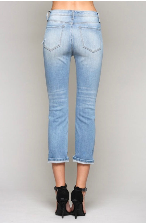 BT-L {Let's Sneak Out} Light Wash Distressed Denim Jeans