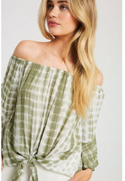 OS-D {Turning Heads} Pistachio Bamboo Tie-Dye Top W/ Tie Detail