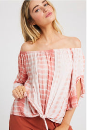 OS-K {Turning Heads} Dusty Rose Bamboo Tie-Dye Top W/ Tie Detail
