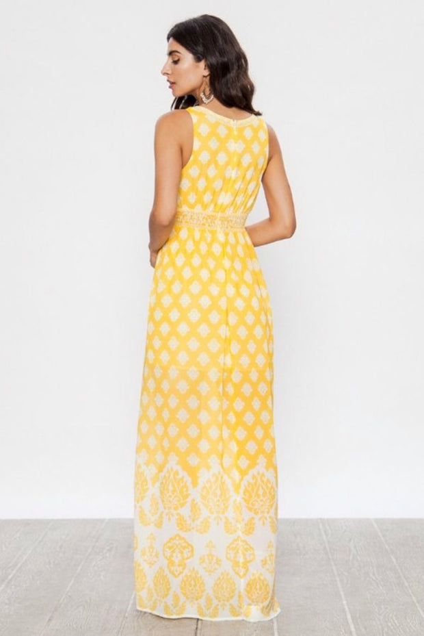LD-L {Know My Secrets} Yellow Damask Maxi Dress with Lining