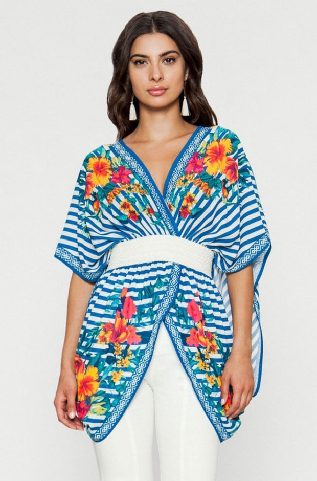 PSS-A {Dream Date} Blue Floral Striped Top Elastic Waistband
