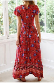 LD-D {Miles Away} Red Floral Print Dress W/ Open Front Detail