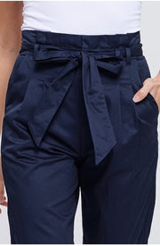 BT-Y {Effortlessly Chic} Navy Pants with Zipper & Front Tie Detail