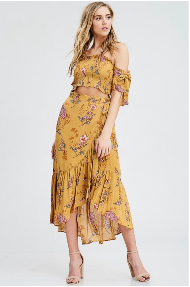 SET {Forever Fierce} Floral Boho Elastic Top with Wrap Skirt