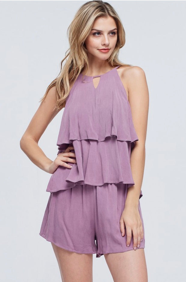 SET-C {Perfect Option} Lavender Ruffle Top W/ Shorts